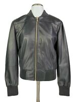 New T Tahari Womens Faux Leather Bomber Jacket Zip Black Size Medium