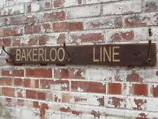 Hat Coat Hook Rustic Bakerloo Line Wooden Patina Underground Tube Train Sign 3