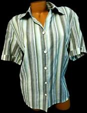 Allison daley green brown striped plus short sleeve textured button down top 14