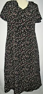 Womens Dress Black Pink Floral Print Short Sleeves Long Flared Size 8
