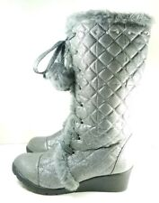 Justice Boots Muk Luk Womens Sz 5 Wedge Heel Gray Synthetic (tu38)