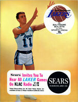 1965-66 NBA BALTIMORE BULLETS vs. LOS ANGELES LAKERS GAME PROGRAM UNSCORED NM/MT