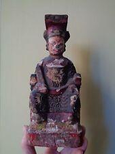Antico cinese della lacca intagliati legno seduta Figura Figura Divinità dipinti a mano