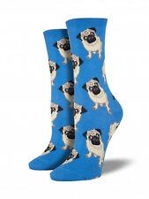 Pug Dog Socks - Blue SockSmith Cotton Womens One Size Fits Most