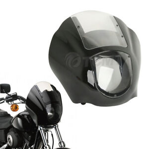 Black & Clear Quarter Fairing Windshield For Harley Sportster 88-Up, Dyna 95-05