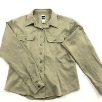 North Face Womens M Hiking Shirt Nylon Blend Collared Button Up Tan Long Sleeve