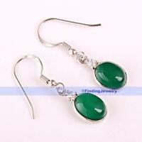 Oval Green Jade Gemstone 925 Sterling Silver Drop Earrings   GREAT GIFT