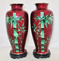 """9.7"""" Pair of Vintage Japanese Pigeon Blood Red Cloisonne Bamboo Vases w/ Stands"""
