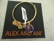 Alex and Ani BRIGHT FUTURE UNICEF Shiny Gold Bangle New W/ Tag Card & Box