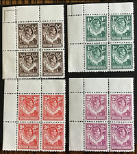 Northern Rhodesia George VI 1951 Change Of Colours MNH U/M 1/2,1,2 & 3d Blocks