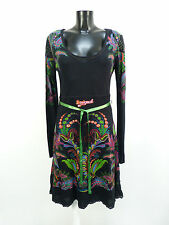 Desigual vestido talla L/negro estampadas & trend-nuevo con etiqueta (n 0929)