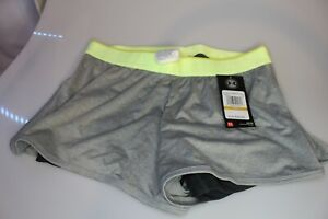NEW UNDER ARMOUR [S] Womens LOOSE-FITTED 2-in-1 Shorts-Gray/yellow 1290800