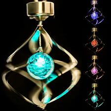 Solar Powered Colour Changing Spiral Wind Spinner LED Light Garden Lamp Outdoor