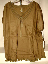 """#4195 FRINGED SHORT SLEEVE BLOUSE FROM LIVE 4 TRUTH, 2XL, V-NECK, 50"""" BUST, NWT"""