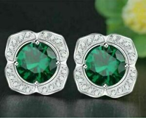 2.53Ct Round Cut Emerald & Diamond Flower Stud Earrings 14K White Gold Finish