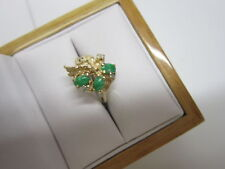 BEAUTIFUL ESTATE 14 KT GOLD GREEN JADE AND DIAMOND RING 4.2 GRAMS !!!!!!!