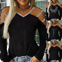 ❤️Women Sequin Cold Shoulder Long Sleeve Blouse Casual Loose V-neck Tops T-Shirt