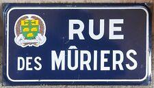 French enamel street sign road plaque Mûrier mulberry blackberry Saint-Mathurin