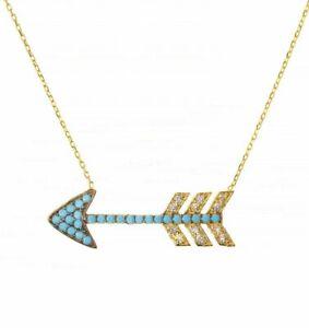 14K Gold Genuine Diamond And Turquoise Gemstone Arrow Pendant Necklace Jewelry