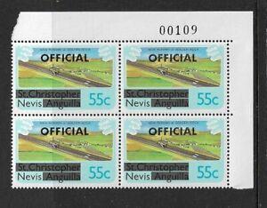 1980 NEVIS - NEW RUNWAY - CORNER BLOCK - OVERPRINT OFFICIAL - UNMOUNTED MINT..