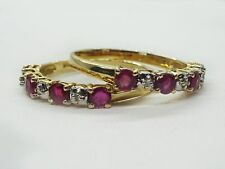 Set of Two 10k Yellow Gold T&C Ruby Diamond Rings, Size 7