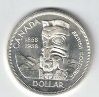CANADA 1958 TOTEM POLE SILVER DOLLAR QUEEN ELIZABETH II CANADIAN SILVER COIN