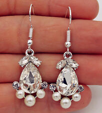 925 Silver Plated Hook -1.8'' Waterdrop Crystal Pearls Beads Bohemia Earrings#17