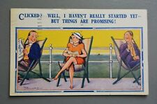 R&L Postcard: Comic, Humoresque Deckchair Holiday Lady Flashing Garter, Clicked