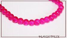 M2228) LOT  de 100 Perles Craquelées Rose Fushia  Ø 8 mm