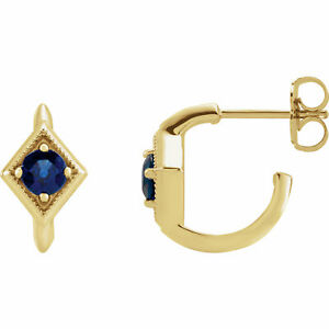 Blue Sapphire Geometric J-Hoop Earrings In 14K Yellow Gold