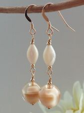 Vintage Caramel Satin Glass & Oval MOP 14ct Rolled Gold Earrings
