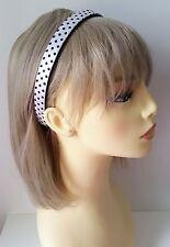 Gorgeous 1.6cm wide white satin polka dot fabric covered headband - aliceband