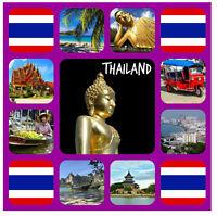 THAILANDIA - souvenir gadget quadrato CALAMITA FRIGO / VISTE / BANDIERA/regali