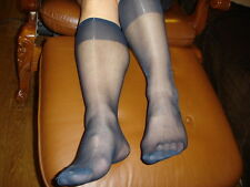 Lot 6 P Mi bas men's socks sheer bleu marine Ref Ab01 T-39/46 nylon 15D