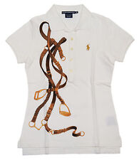 Polo Ralph Lauren Sport Womens Mesh Short Sleeve Equestrian Shirt Cream White XS