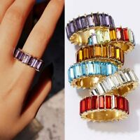 Charm Rainbow Crystals Baguette Cubic Band Knuckle Ring Stackable Jewelry Party