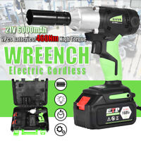 "21v Cordless Impact Wrench Gun 1/2"" Drive Electric 460N.m Ratchet 4 Sockets Nut"