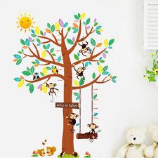 Wandtattoo Messlatte Kinderzimmer bunt Affe Vogel Kinderzimmer Sonne Tiere Baby