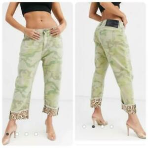 One Teaspoon Bandits Camo Straight Leg Jean Size 26 with Leopard detail $148