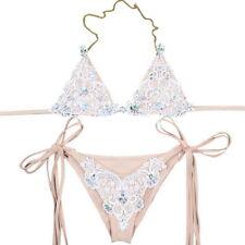Sexy Women Bikini Set Lace Bling Crystal Inlaid Metal Straps Swimsuits Swimwear