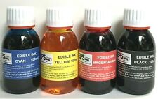 Full Set Edible Ink 100ml for Canon or Epson Printers (red, yellow, blue, black)