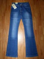 NEU DS Fashion Vintage Damen Bootcut Jeans Gr 38 Basic Slim Fit Schlaghose Blau