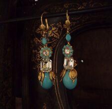 Vintage Oro Turquesa Oval cabuochon y Cristal Gota Perforado Pendientes. Haskell