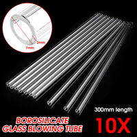 10Pcs 300mm Length OD 7mm 2mm Thick Wall Lab Borosilicate Glass Blowing Tube O