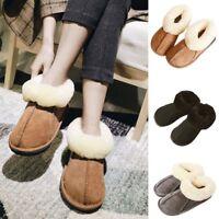 Women Men Luxury Handmade Sheepskin Natural Fur Slippers Wool Boot Snow Shoes UK