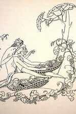 John Austen NUDE BOY & GIRL Surrounded by GRAPE VINES 1931 Art Deco Print Matted