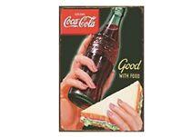 COKE COCA COLA SODA POP BOTTLE TIN SIGN GOOD WITH FOOD RESTAURANT WALL ART BAIT