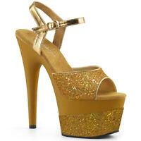Pleaser ADORE-709-2G Women's Gold Multi Glitter Heel Platform Ankle Strap Sandal