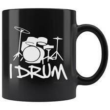 I Drum Drummer Drum Kit Band Novelty Gift Black Mug