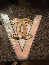 Iron On Gold CC Custom Sequin Embroidered Patch Chanel Inspired  Free Shipping